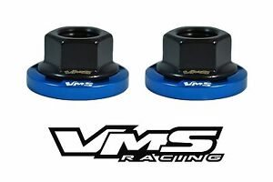 6 VMS RACING STRUT TOWER DRESS UP BLUE WASHERS & BLACK FLANGED NUTS FOR HONDA