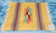 "Chimayo New Mexico Ortega's Weaving Shop 100% Wool Hand woven 15"" X 14.5"" RUG"