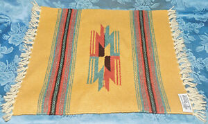 "Chimayo New Mexico Ortega's Weaving Shop 100% Wool Hand woven 15"" X 14.5"" RUG"