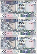 SOMALIE : 3 x 100 SHILLINGS 1987 NEUFS, N° SE SUIVANT - P.35b