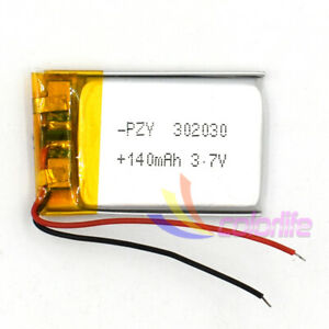 3.7V Lipolymer 302030 140mAh Rechargeable Battery Li-Po For Recorder GPS Navi