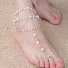 Beach Gold Pearl Anklet Jewelry Barefoot Sandal Foot Chain