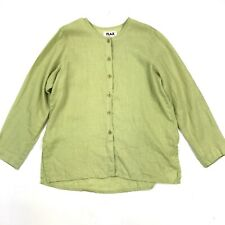 Flax Women's Lime Green Long Sleeve Button Down Lightweight Linen Blouse Sz S