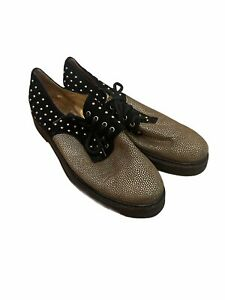 Black and Gold Studded Loafers