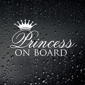 Princess On Board Sticker Decal - Girl Power Lady Baby Car Window Bumper