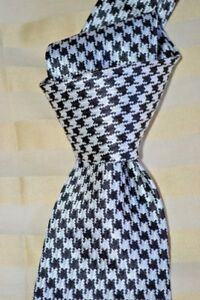 """$250 NWT TOM FORD Black w/ white houndstooth check 3.4"""" woven silk tie ITALY"""