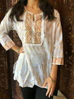 Boho Gypsy Hippy Tunic Blouse White Gold Printed Cotton Summer Ethnic Kurti L