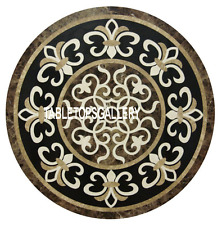 "24"" Brown Marble Rare Coffee Table Pietradura Inlay Living Home Decor Arts H3183"