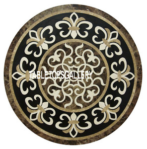 "24"" Marble Round Coffee Table Top Precious Marquetry Inlay Garden Decors H3183"