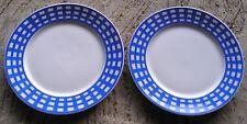 2 assiettes dessert porcelaine Guy DEGRENNE , décor pareo bleu