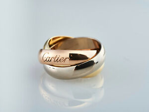 vintage Cartier Trinity Ring - weiß-gelb-rose Gold 750 - extra breit - RG51