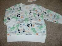 Gymboree Baby Boys Tiny Tropics White Beach Sweatshirt Size 3-6 months NWT NEW