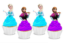 Frozen Princess Elsa & Anna Half Body Edible Wafer Cupcake Cake Toppers
