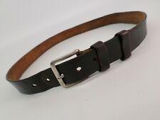 Vintage Leather Belt 32 34 Distressed Dark Brown
