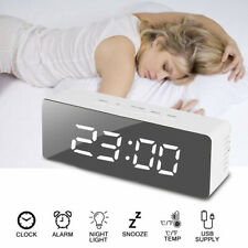 Mirror Digital Bedside LED Snooze Alarm Clock Time Temperature Night Mode Clock