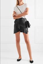 IRO Ruffled (Lamb) leather Wrap effect mini skirt (Oyama Skirt) Size 38/6 black