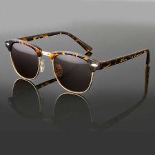 Polarized Women Men Vintage Designer Clubmaster Sunglasses Metal Half Frame