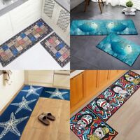 Kitchen Bathroom Mat Floor Door Mat Runner Machine Washable Non Slip Rug Carpet
