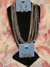 SIMPLY VERA WANG NWT $78 womens necklace earrings set multi strand blue silver