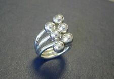 Sterling silver .925 multi row bead ring sz 6.75
