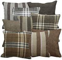 Qa-Match Plain Checker Stripe Linen Cotton Blend Cushion Cover/Pillow Case Size