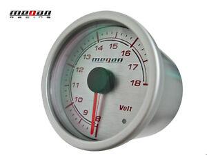 Megan Racing Volt Voltage Ratio Meter 52mm Silver Gauge LED lamps MR-MG-VT