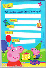 PEPPA PIG PARTY SUPPLIES INVITE INVITATIONS PACK OF 8