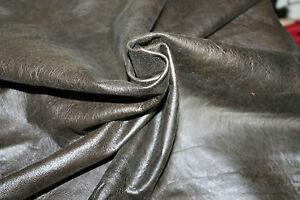 Lambskin leather hide skin  VTG ANTIQUED DISTRESSED GREEN OLIVE 6sqf