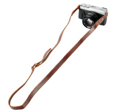 Retro / Vintage Style Narrow Brown Leather Camera Neck strap 15mm Wide Coffee