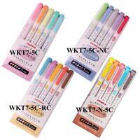 ZEBRA Mildliner 5 Color Set Pens Soft Color Double-Sided Highlighter Fluo Marker