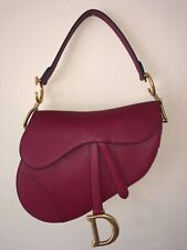 Authentic Christian Dior Medium SADDLE Bag in Embossed Red Leather NEW, Unworn