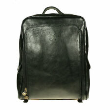Womens Unisex Large Black Brown Backpack Italian Leather Made In Italy BP006