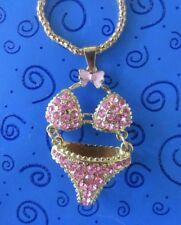 Johnson 2-Piece Bikini Swimsuit Necklace Life's a Beach: Pink Rhinestone Betsey