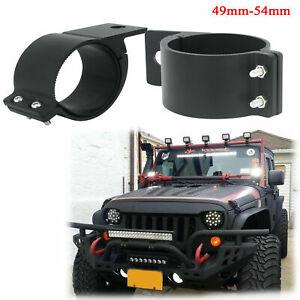 2x Black Aluminum Car Off-Road Work Fog Light Holder Bar Clamp Mounting Bracket