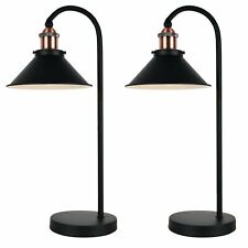 Pair of Black with Copper Table Lamp Bedside Lights Retro Modern Lighting