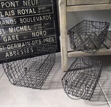 Vintage Industrial Style Wire Storage Basket Rectangle Hamper Handles Dark Grey