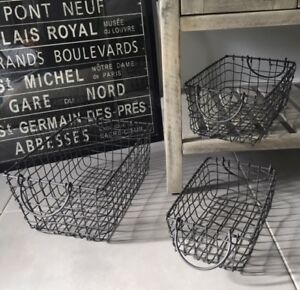 Vintage Industrial Style Wire Storage Basket Rectangle Hamper Handles Dark Grey