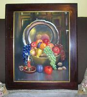 VINTAGE GRAPES PEACHES APPLES CANDLE PLUM STILL LIFE OIL PAINTING ANTIQUE FRAME