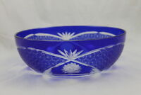 Cobalt Blue Cut to Clear Large Bowl Vintage Overlay Glass Daisy and Button 9""