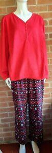 Women's Croft And Barrow Christmas Red Pajamas Soft Fleece Winter Sz 2X XXL