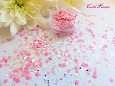 Nail Art Chunky *Pixie Pink* Silver Holographic Mix Hexagon Glitter Spangle Pot
