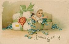 VALENTINE'S DAY –Baby and Flowers Art Nouveau Postcard - 1908
