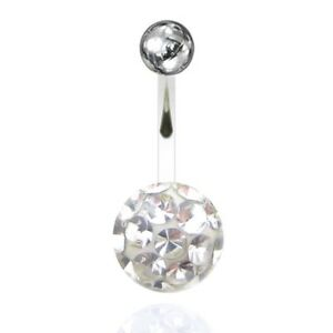 Piercing navel / belly big ball multi-crystal with resin (11 Colors)