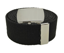 """Canvas Military Web Belt & BIG """"Plain"""" Silver Buckle 48, 54, 60, 72 Inches"""