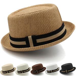 Men Women Straw Pork Pie Hats Porkpie Sunhats Boater Caps Sailor US Size 7 1/4