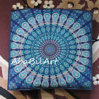 "New Large 35"" Blue Multi Color Mandala Indian Floor Pillow Cushion Cover Dog Bed"
