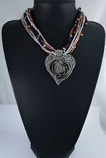 Multi Cord Antique Silver Abstract Textured Heart Pendant Lagenlook Necklace