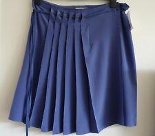 BNWT Gerard Darel Stunning 100% Silk Blue Pleated Skirt, Size 42 (UK 14) New