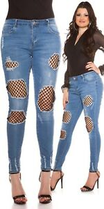 Curvy Girls Ladies Jeans Trousers Skinny Jeans Used Look with Net