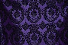 TAFFETA DAMASK VELVET FLOCKED PURPLE DRESS HOME DECOR APPAREL CURTAINS BY YARD